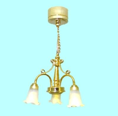 Lighting Golden Chandelier Three Arm Battery  Operated 1:12 Dollhouse Miniature