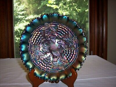 Northwood Grape and Cable Amethyst Carnival Glass Crimped Bowl Basket Weave Back