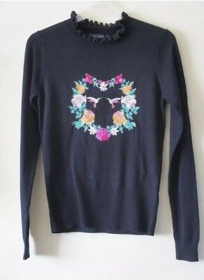 OASIS JUMPER TOP Navy Blue Illustrator Story Embroidered Birds Heart