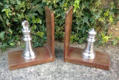 Wood & Metal Chess Piece Bookends ~ Shabby Chic
