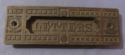 Antique Cast Iron Eastlake Style Mail Letters Slot Pat 1881 With Working Spring