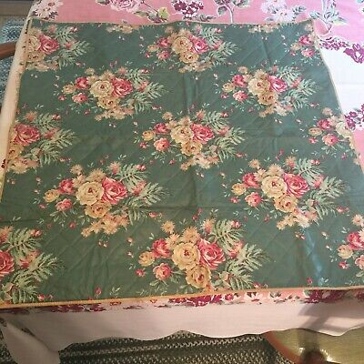Vintage Bridge Table Cover Tablecloth Roses Quilted Chintz