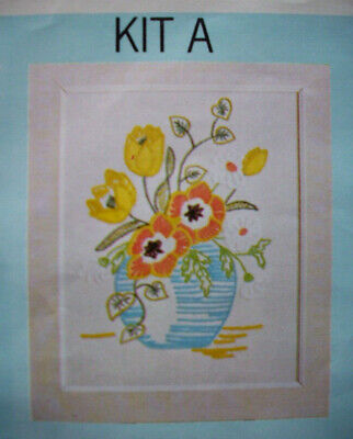 Vase of flowers crewel embroidery kit A