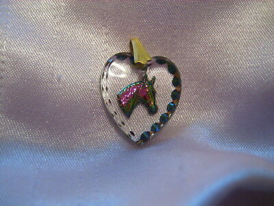 Horse Head intaglio Reverse carved & painted glass  Vintage cabochon pendant