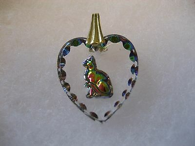 Kitty Cat intaglio Reverse carved & painted glass  Vintage cabochon pendant