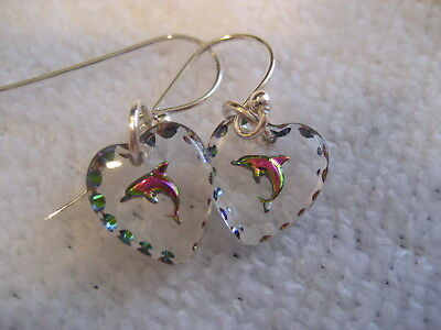 Dolphin Earrings Vintage intaglios with Sterling Silver ear wires