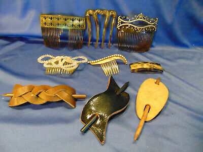 9 Antique hair combs leather plastic rhinestones beading classic designs styles
