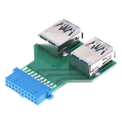 Internal Mainboard 2 Ports USB 3.0 Female to 20 Pin Female adapter Header