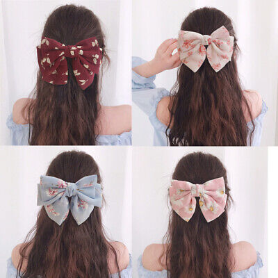 Women Girl's Big Bow Hair Clips Grips Pin Dot Chiffon Barrettes Hair Accessories