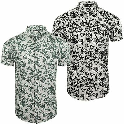 Mens Hawaiian Leaf Print Shirt by Brave Soul 'Zarb'