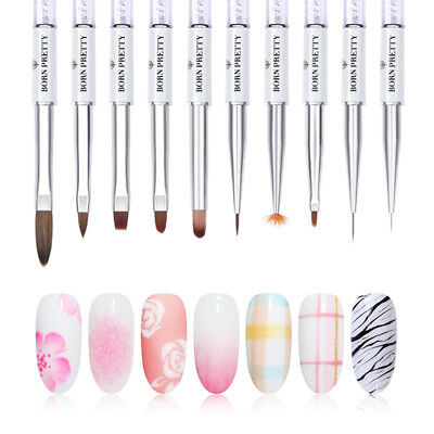 BORN PRETTY Nail Art Acrylic Brushes Painting Pen UV Gel Brush White Liner Brush