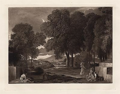 """Outstanding 1800s POUSSIN Antique Etching """"Phocion in the Garden"""" Framed COA WOW"""