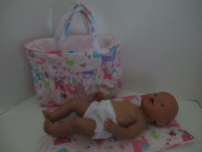 """Dolls Nappy Bag & Change pad, """" Pink Unicorns and Carriage """""""