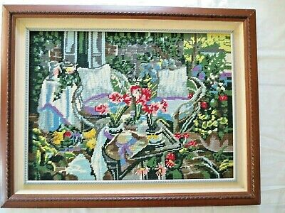 Tapestry Completed & Framed Observatory Sitting Flowers
