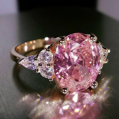 Fashion 925 Silver Pink Sapphire Claw Ring Wedding Engagement Band ring SZ 5-12