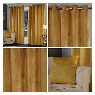 Ochre Eyelet Curtains Mustard Lusso Velvet Ready Made Ring Top Curtain Pairs