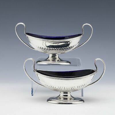 Pair Victorian Sterling Silver Salts With Blue Glass Liners London 1898