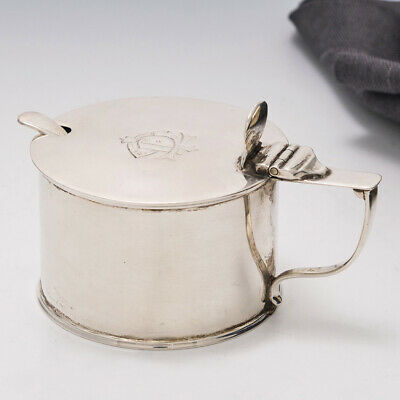 Victorian Sterling Silver Mustard Pot and Spoon Sheffield 1883