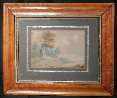 Antique early 19th Century British Painting Birdseye Maple Frame Hudson River