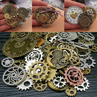 50g Mixed Jewelry Findings Watch Parts DIY Cogs Steampunk Gears Punk