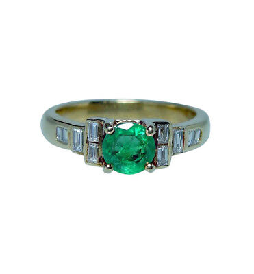 Colombian Emerald Baguette Diamond 14K Gold Ring