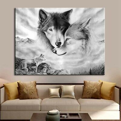 Wolf Canvas Picture Home Hanging Wall Art Painting Decor Black&White Picture UK