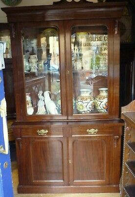 Nice Victorian Mahogany Glazed Bookcase With Cupboards Under