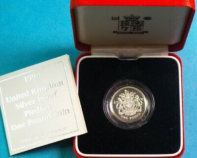 1998 Royal Mint Piedfort Proof £1 Coin Royal Arms  Cased & Cert