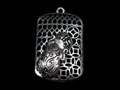 Tibetan Silver Highly Detail Crafted Pendant Treasure Pi-Xiu Eats Coin #07221917