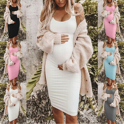 Slim Maternity dress Cotton Blends Bodycon Summer Womens Round Neck Casual
