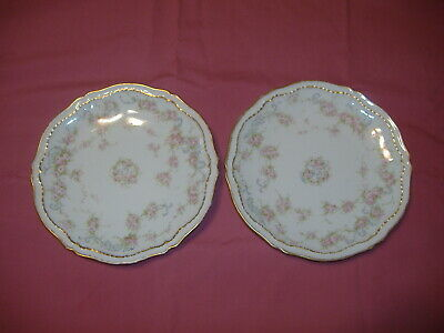 Theodore Haviland Limoges Schleiger 340 Roses DBL Gold COUPE Salad Plates x 2