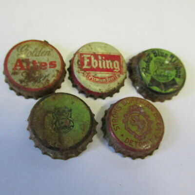 5 diff Used cork lined crown Beer bottle caps Ebling Pabst Altes Strohs Mich