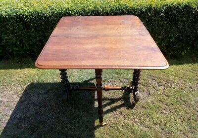 Victorian Mahogany Sutherland Table with Barley Twist Legs on Brass Casters