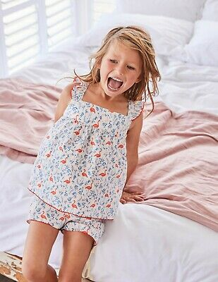 NEW RRP £25 Mini Boden Woven Detail Pyjama Top - Ivory Flamingo Floral (U10-5)