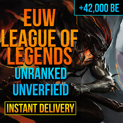 League Of Legends Account LOL Euw Smurf 38,000 - 42,000 BE IP Unranked Level 30