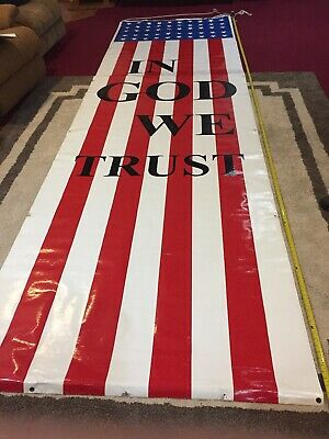 Patriotic American Flag  Giant Banner , 15 Foot By 4 1/2 Foot.