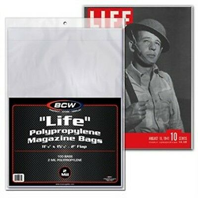 1 Pack of 100 BCW Brand Life Magazine Storage Poly Bags Sleeves
