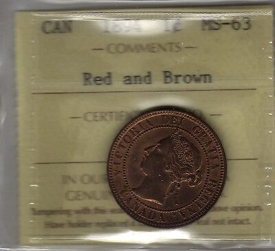 1894 Canada Large Cent Coin. ICCS MS-63 KEY DATE