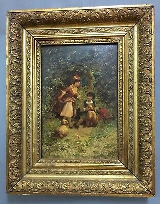 Antique 19th Century Victorian Oil On Board Painting In Gold Gilt Frame