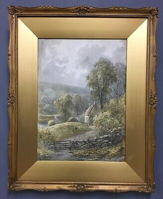 Large Antique 19th Century Victorian Painting In Gold Gilt Frame, Signed
