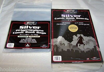 "100 Each BCW 7 1/4"" Thick Silver Age Resealable Comic Bags & 7"" Backer Boards"