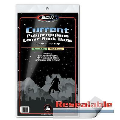 "1 Case 1000 BCW Resealable 7"" Thick Current Modern Comic Book Poly Bags Sleeves"