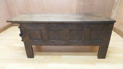 16th or 17th Century Period Oak Grain ARK or Coffer CHEST with carved sides