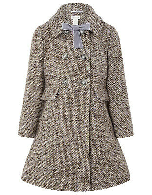 Girls Monsoon Beige Tweed Children Kids School Coat Jacket Age 3 to 13 Years New