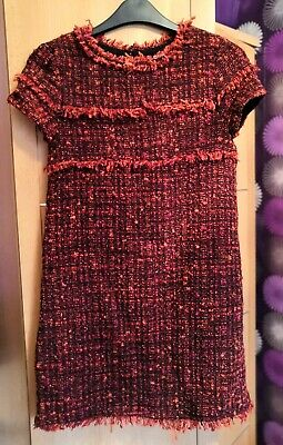 Zara Kids Girls Red Burgundy Tweed Short Sleeve Shift Dress Size 13-14 Years