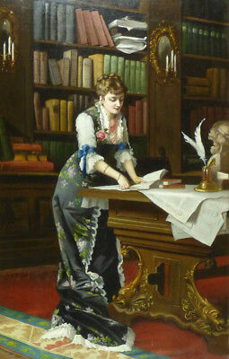 """perfect oil painting handpainted on canvas""""Young Woman in Library""""@9545"""