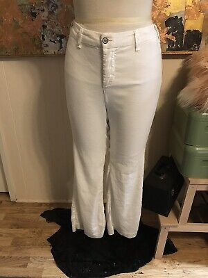 Not Your Daughter's Jeans NYDJ Women's White Claire Trousers Stretch Linen 12P