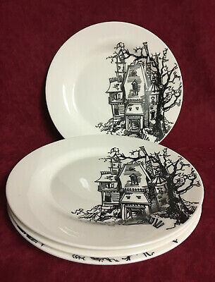 SET OF 4  DINNER PLATES HAUNTED HOUSE by CIROA  #21253
