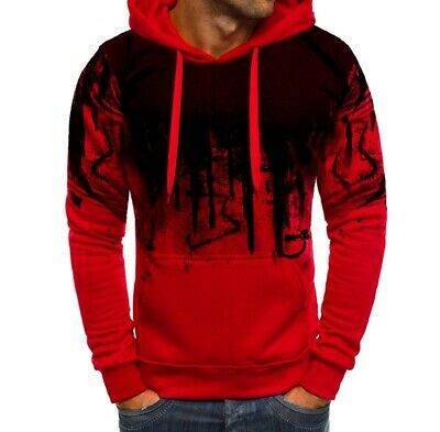 Mens Spring Long sleeve Pullover Hoodies Fashion Hooded Printing Tops Casual New