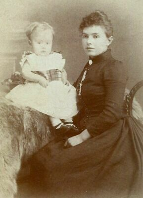 ANTIQUE CABINET PHOTO YOUNG VICTORIAN MOTHER w LITTLE GIRL by MONK BACKSTAMP